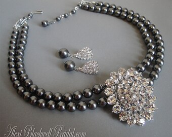 Mother of the Bride Jewelry Set Grey Pearl Necklace with Brooch and Earrings 2 double strands Swarovski Dark Grey Pearls wedding bridal