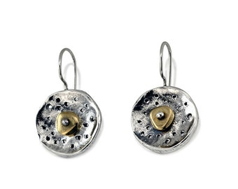 Round Earrings, Silver Earrings with Brass Accent, Handmade Jewelery