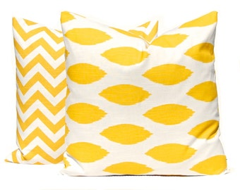 Yellow Pillow Cover, Yellow Chevron Pillow Cover, Yellow Pillows, Throw Pillow Covers Inches Yellow Nursery Decor Yellow Ikat Yellow Cushion