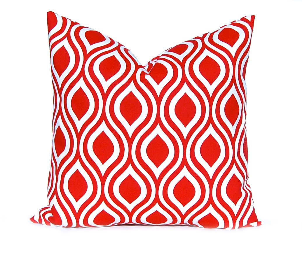 One Red Pillow Cover Throw Pillow Cover Red and White