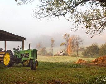 Foggy Fall Morning on the Farm Print