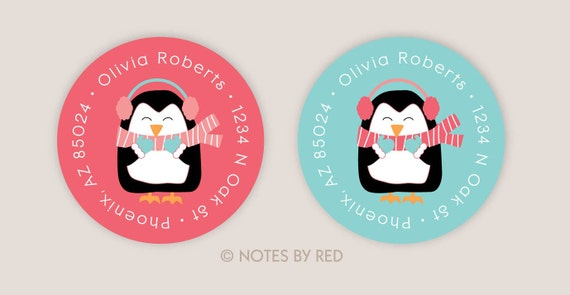 Personalized Penguin Winter Christmas Holiday Address Labels Strawberry and Pool (Set of 20)