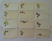 Vintage Lot of 13 Handmade Placecards - Floral and Embroidered Bird Pattern