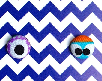 Monster Eyes Fabric Covered Button Stud Earrings 1/2 Inch - 12mm - Size 20