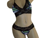 Sexy Seattle Seahawks NFL Lingerie Black Lace Cami Bralette Style Tie-Top and Matching G-String CUSTOM Sizing