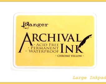 Jumbo CHROME YELLOW Inkpad Ranger Archival - 4x6 Dye Acid Free Large