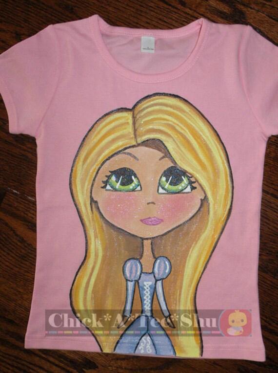 Disney rapunzel inspired PRINCESS hand painted shirt 12-18 24 2 3 4 5 6 7 8 9 10 12 BOUTIQUE PAGEANT custom