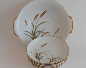 Sango September Song Cattail Dessert Serving Bowl Set / One Large Bowl with 6 Sauce Bowls