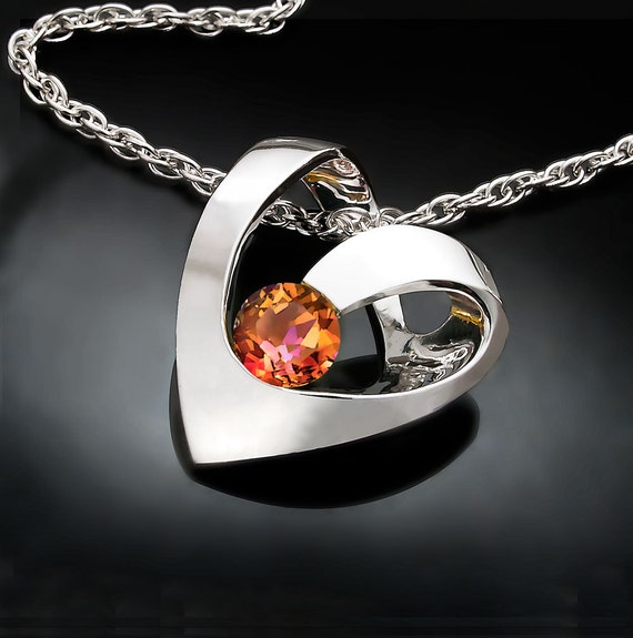 heart pendant, mystic topaz necklace, mystic topaz pendant, designer jewelry,  Argentium silver, unique necklace, for her - 3401