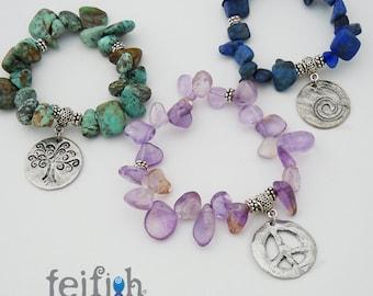 Beautiful FEIFISH Medallion Bracelets, Tree of Life, Peace, Wave