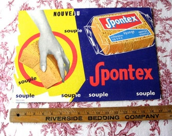 """Vintage French  Advertising  Lithograph Sign Thick Board 1960's  SPONTEX  Standee12"""" X 17 1/8  Original Pop Art"""
