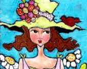A Flower Kinda Day acrylic painted on canvas mixedmedia illustration 8x8
