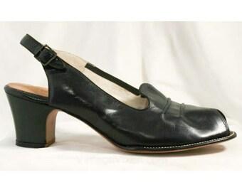 Size 8.5 Shoes - 1950s Black Peep Toe Slingbacks - 8 1/2 AA Narrow Width 50s Shoes - Slingbacks - Deadstock - Versatile - Classy - 40050-1