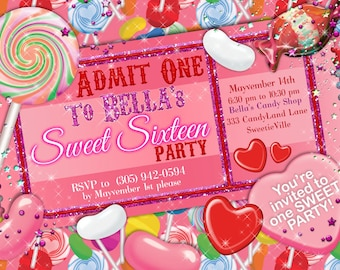 Candy Land Party, Candy Party Invitation, Sweet 16 Party Invitation, Candy Ticket Invitation, Party Invitations