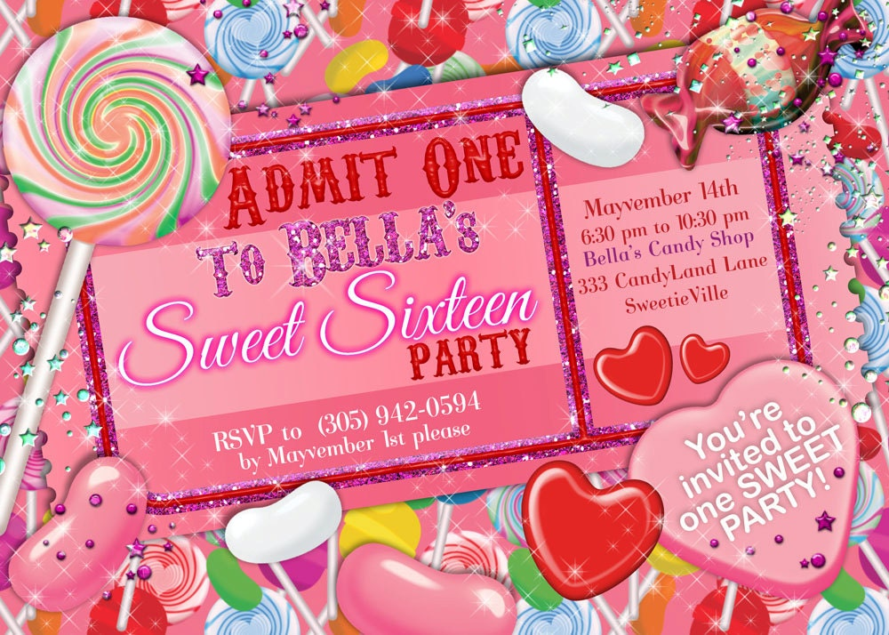 Glitter Candy Land Party Candy Party Invitation Glitter