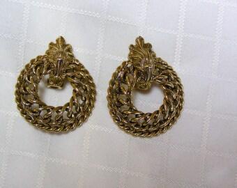 Vintage braided gold tone door knocker earrings