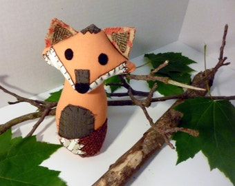 Townsend the Fox - 6 Inch Plush Fox Made From Repurposed and Salvaged Fabrics