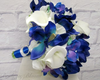 Blue orchid calla lily wedding bouquet - Silk brides bouquet