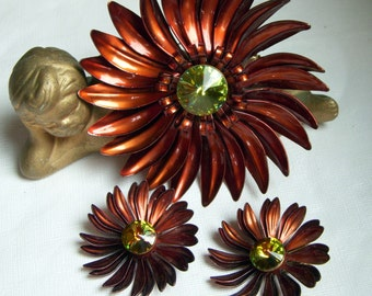 Big Brown Enamel Metal Flower Brooch and Earrings with Rivoli Centers