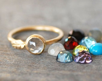Gold Gemstone LEAF Ring - Choose Your Gemstone - Simple Gold Leaf Ring - Eco-Friendly Recycled Gold