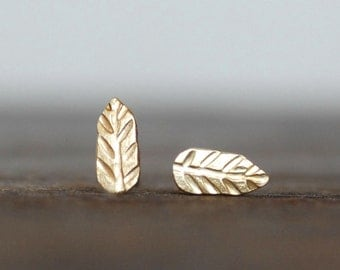 Tiny Gold Leaf Post Earrings - 18k Gold Stud Leaf Earrings - Eco-Friendly Recycled