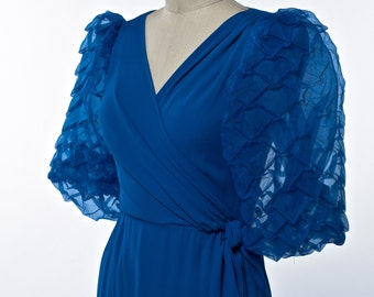 Vintage Blue Long Dress 60's/70's Miss Elliotte Evening Gown with Pleated Chiffon Sleeves size X-Small
