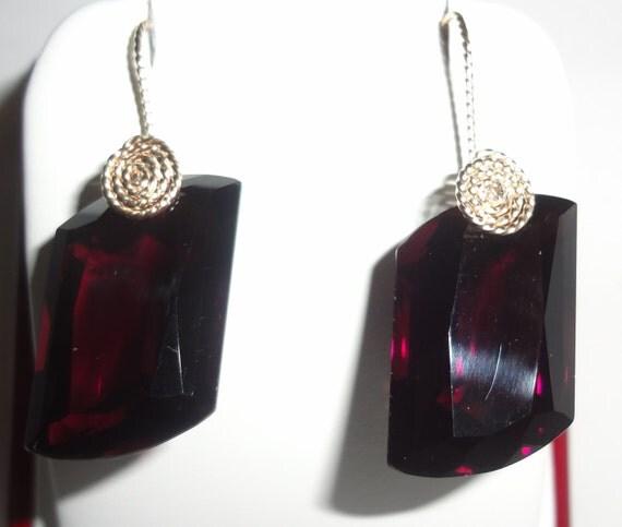 46 cts Natural Fancy cut Deep Rich Purple Amethyst stones, 14kt yellow gold Pierced Earrings