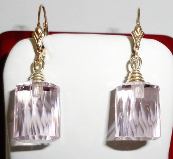 41 cts Natural Briolette Pink Topaz 14kt yellow gold Leverback Pierced Earrings