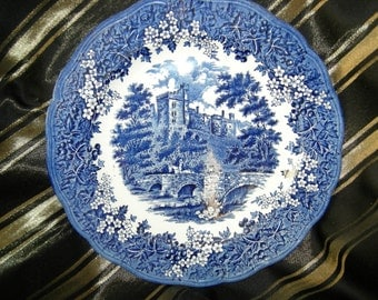 Merrie England Dinner Plates J G Meakin Haddon Hall Blue , Set of 3