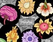 SALE - Digital Collage Sheet - 1 Inch Circles - William Morris Flowers - Wallpaper - Digital Art - Vintage Images - Printable - CS 377