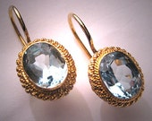 Vintage Georgian Victorian Revival Aquamarine Earrings