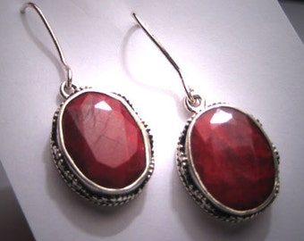 Vintage Large Ruby Earrings Victorian Etruscan Revival