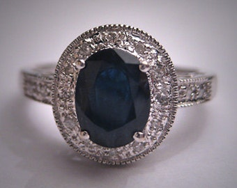 Vintage Sapphire Diamond Wedding Ring Art Deco Wht Gold Engagement