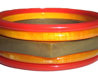 Antique Bakelite Bangle Bracelet Collection Vintage 1940s Art Deco