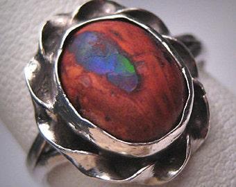 Antique Australian Boulder Opal Ring Vintage Wedding