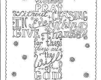 Instant Download Scripture Cross You Color And Create Then Frame Digital Adult Coloring