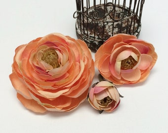 Peach Pink Ranunculus Flowers - BUD to BLOOM - Silk Flowers, Flower Crowns, Wedding Flowers
