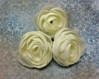 Silk Flowers - THREE Silk Ranunculus Flowers in Cream - 3 Inches - Artificial Flowers