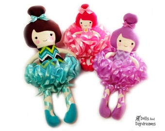 Embroidery Machine ITH Ballerina Doll Pattern - Tutu and Ballet Slippers Included - DIY Baby safe childs Toy