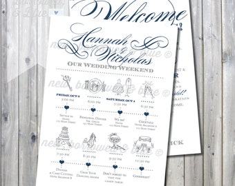 Printable Swirly Script Wedding Itinerary Timeline with Welcome Letter