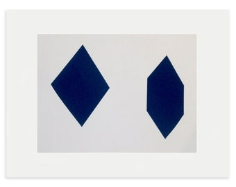Gift for him, Minimal screenprint, geometric abstract, handmade original art, dark blue, grey, Mid Century home, Emma Lawrenson