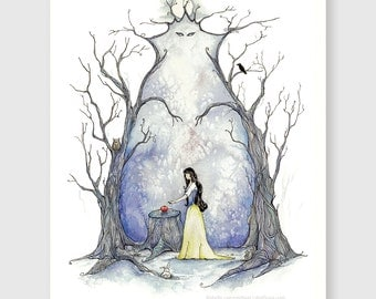 Snow's Apple - fairytale series - Snow White - Whimsical fairytale and storybook illustration