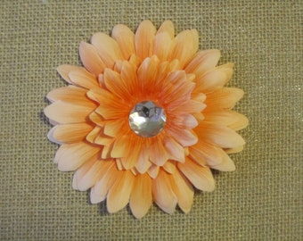 Peach daisy hair clip with rhinestone - Real touch feeling