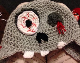 Hand made crochet Zombie winter earflap hat