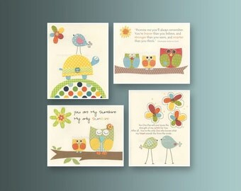 Nursery art prints, Baby Room decor, Nursery Art Decor, Kids Print, elephant, owl, giraffe, red, orange, green, blue, yellow set of 4 prints