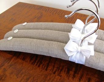 Padded Hangers, Belgium Linen, Covered Hangers, Organic Ribbon, Covered Hangers, Clothing Hangers, Linen Padded Hangers (Set of 3)