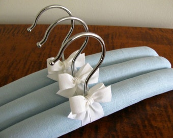 Baby Hangers, Boy Hangers, Covered Hanger, Boy Birthday Gift, Blue Linen Baby Hangers, Blue Infant Hangers, Baby Boy Gifts, Padded Hangers