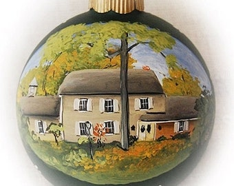 Custom House Portrait Ornament, Christmas ornament portrait paintings from photos on 4 inch glass ornaments
