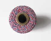 Airmail Red White Blue Bakers Twine - Divine Twine - Craft - Packaging - Invitation Wrapping String - Decorating - 240 Yards Full Spool Roll