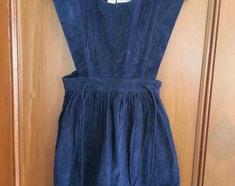 Vintage Alyssa Inky Blue Corduroy Jumper Girls Winter 1980s